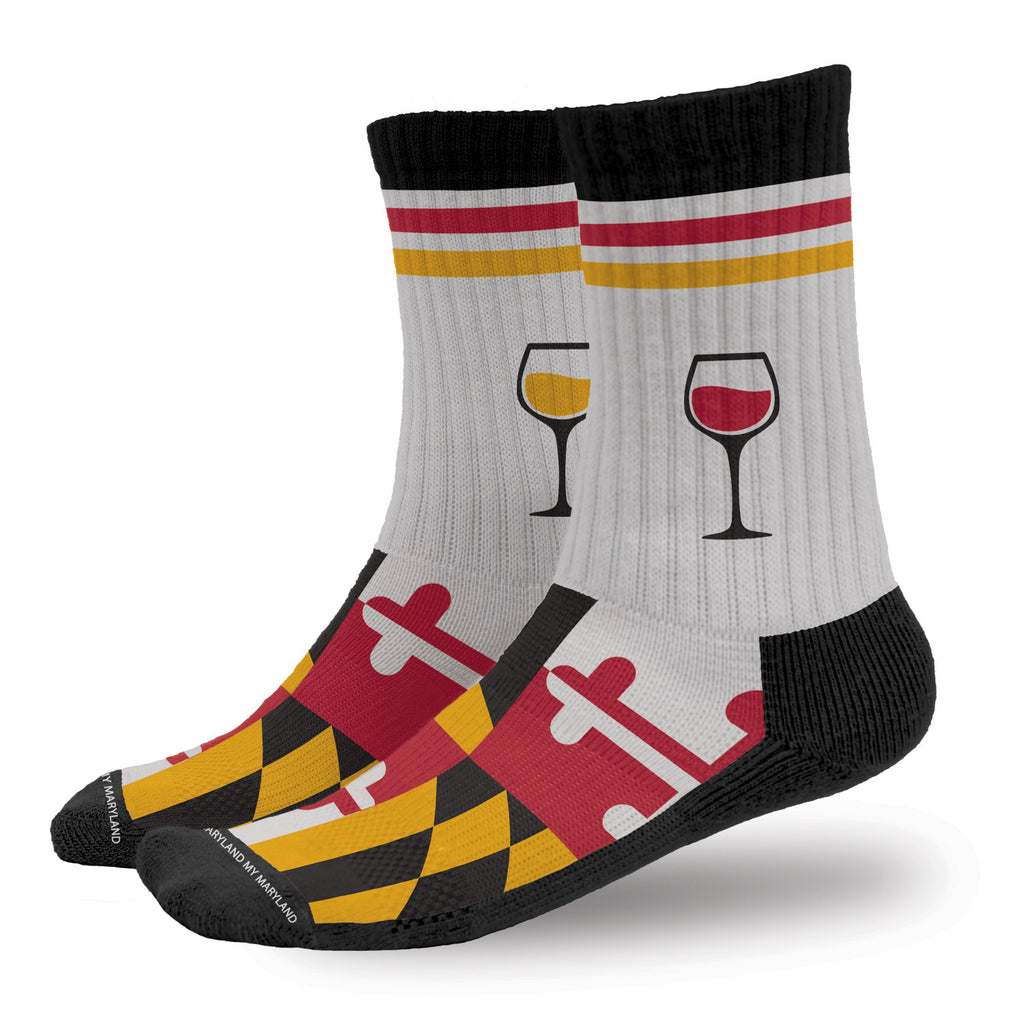 Maryland Flag Bring Me Wine Crew Socks | Maryland O Mine