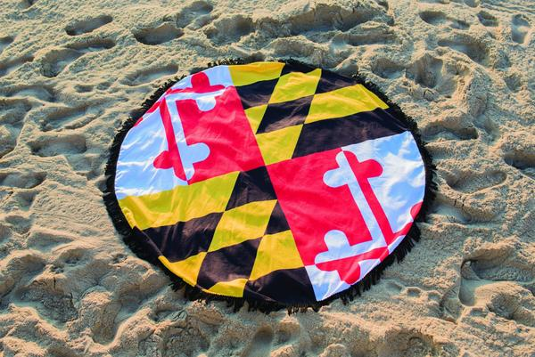 Maryland Flag Circle Beach Towel - Maryland O Mine