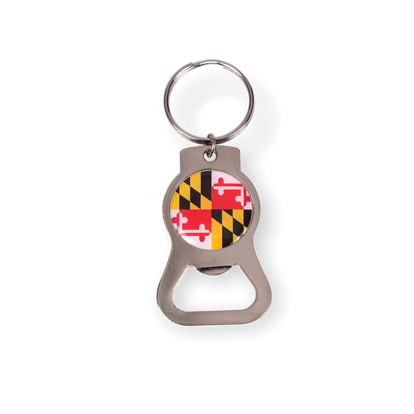 Maryland Flag Circle Bottle Opener Key Ring - Maryland O Mine