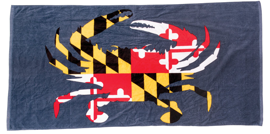 Maryland Flag Crab Beach Towel - Maryland O Mine