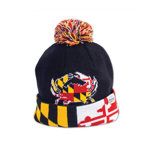 Maryland Flag Crab Black Pom Beanie