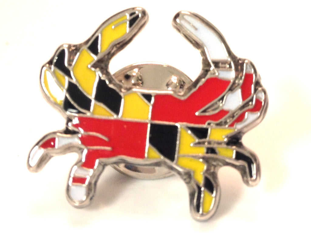 Maryland Flag Crab Lapel Pin - Maryland O Mine