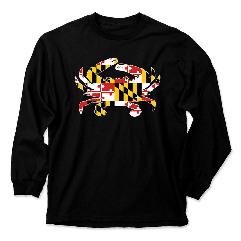 Maryland Flag Crab Long Sleeve - Maryland O Mine