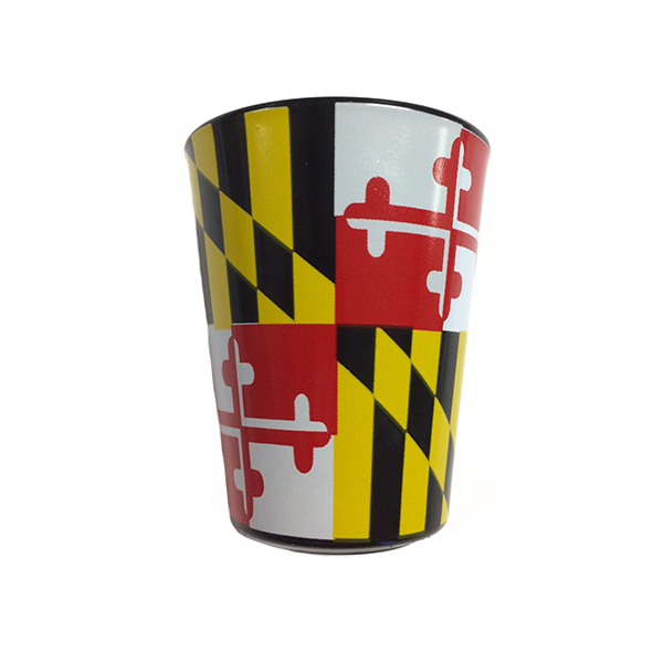Maryland Flag Full Wrap Black Shot Glass - Maryland O Mine