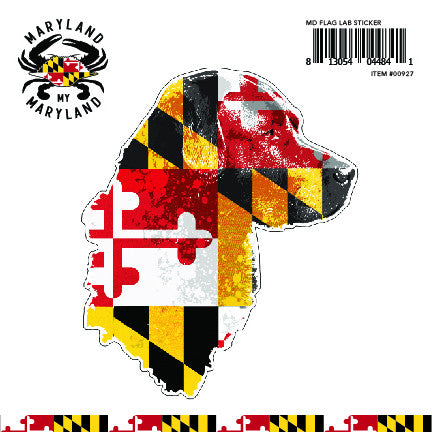 Maryland Flag Lab Sticker - Maryland O Mine
