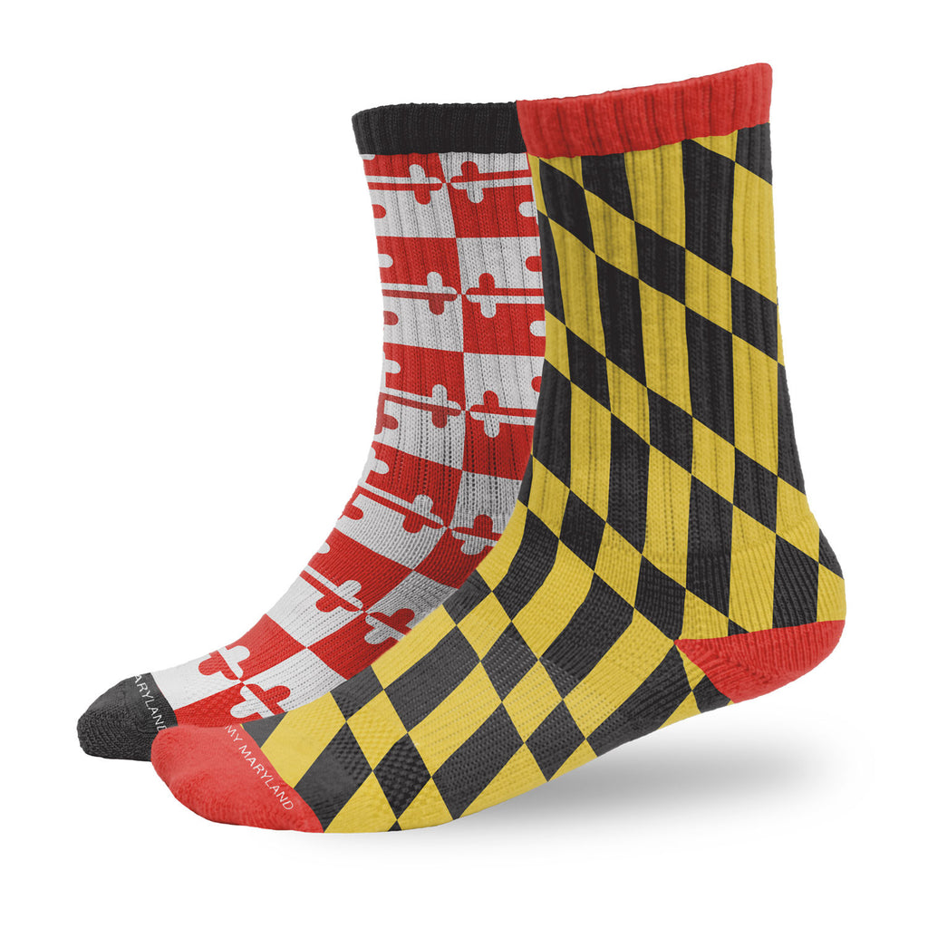 Maryland Flag Left Right Crew Socks | Maryland O Mine