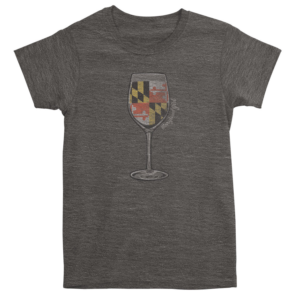 Maryland Girl Wine Glass Tee - Maryland O Mine