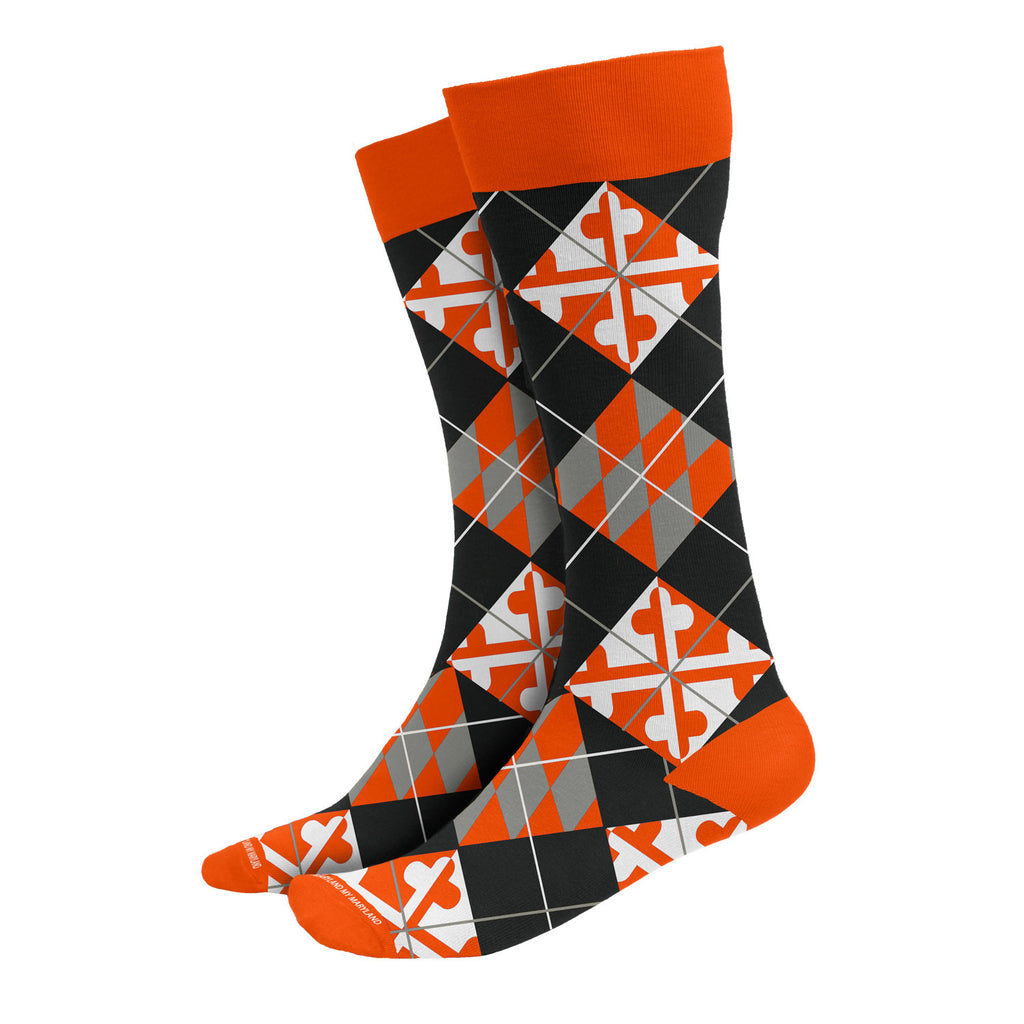 Maryland Orange Argyle Socks - Maryland O Mine