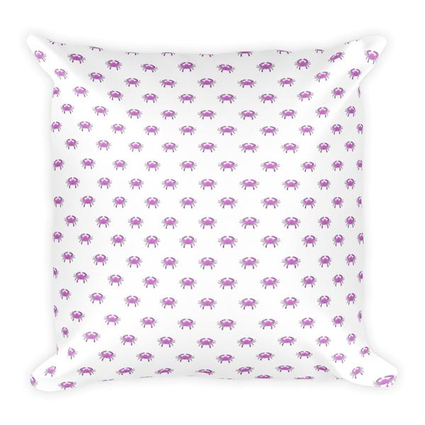 Pink Crab Square Pillow - Maryland O Mine