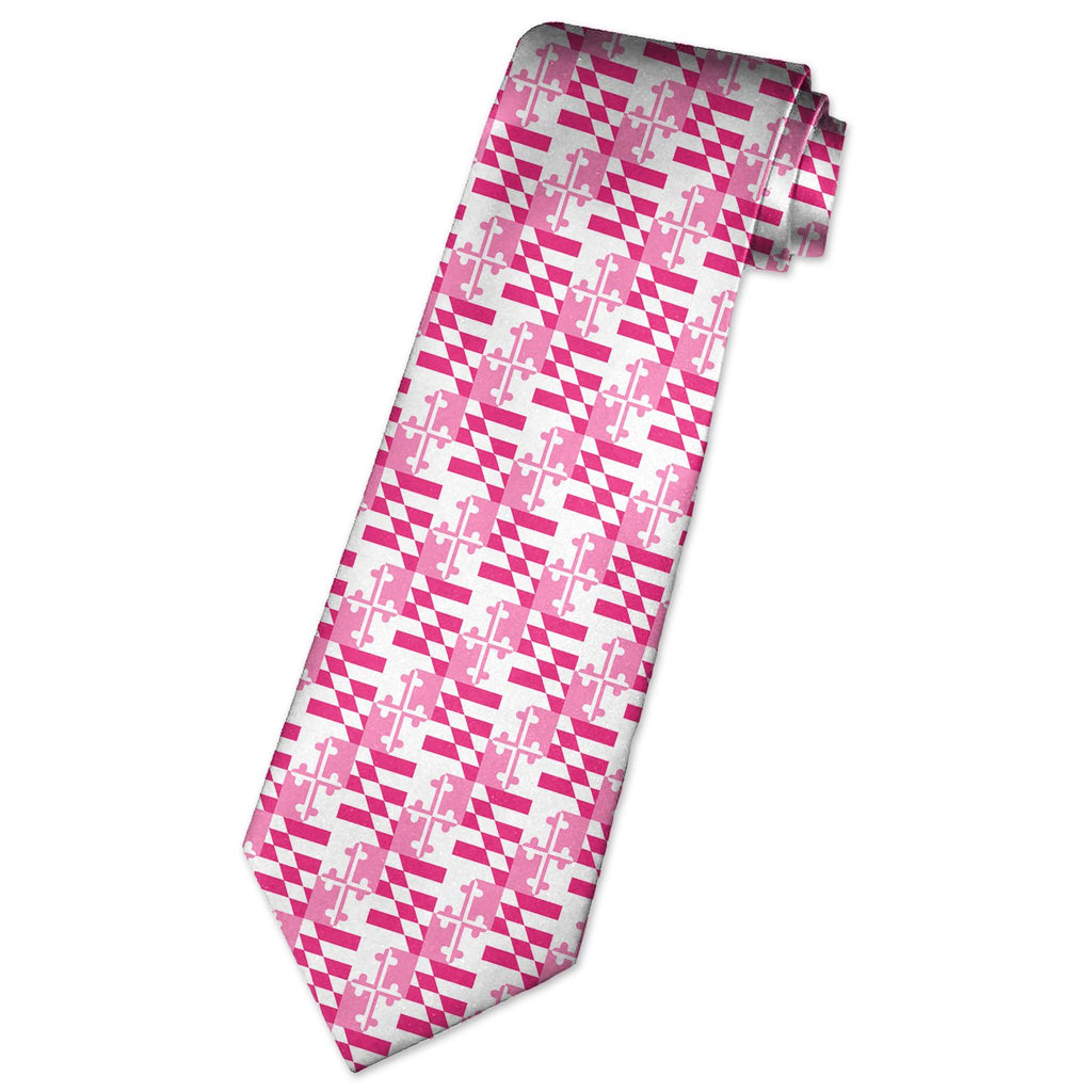 Pink Maryland Flag Neck Tie - Maryland O Mine