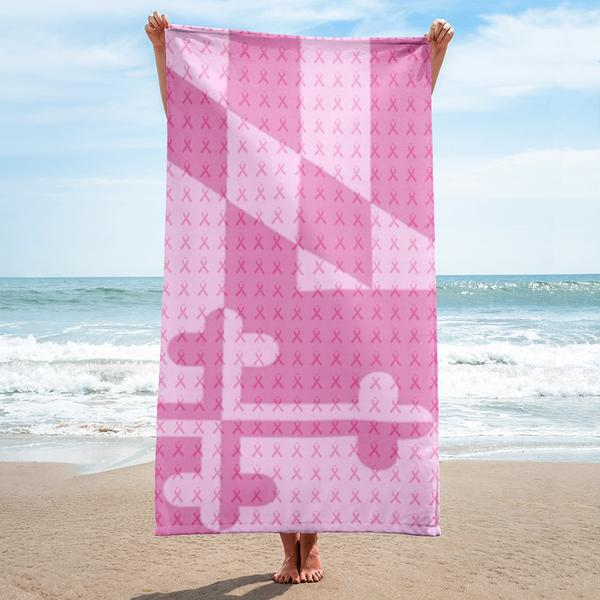 Pink Maryland Flag Ribbon Towel - Maryland O Mine