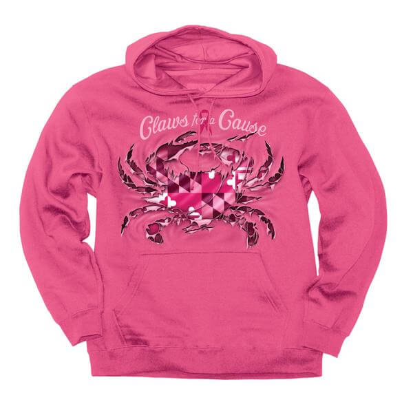 Pink Maryland Flag Ripped Crab Hoodie - Maryland O Mine