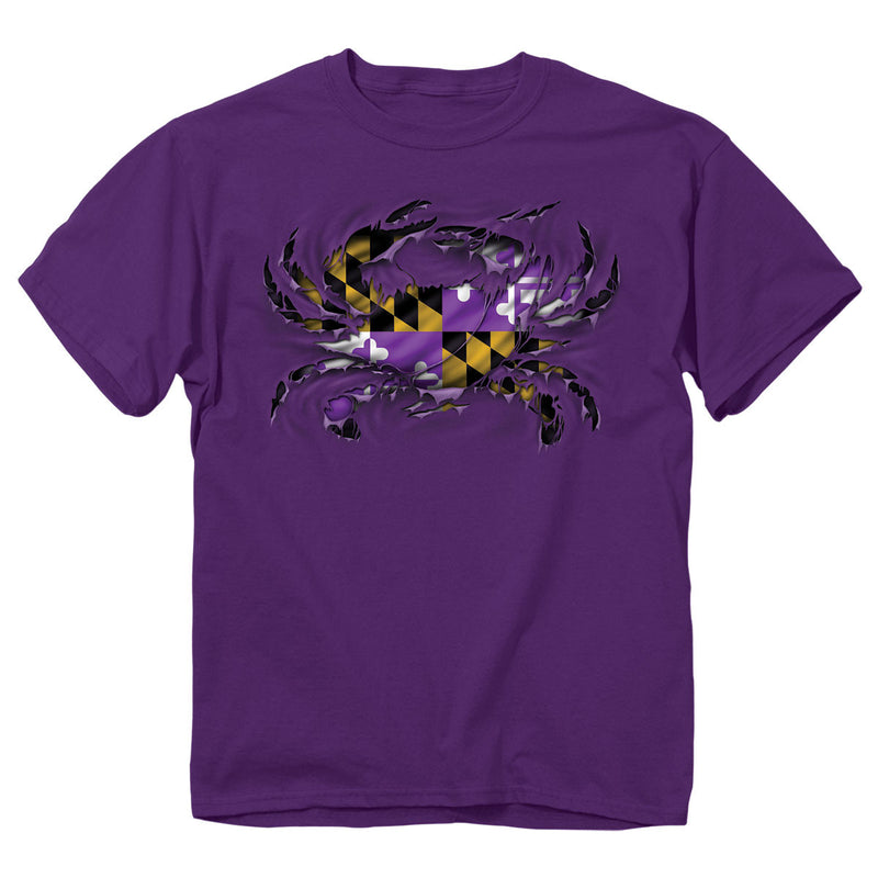Purple Ripped Crab T-Shirt - Maryland O Mine