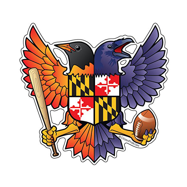 Oriole and Raven Maryland Crest Die Cut Decal - Maryland O Mine