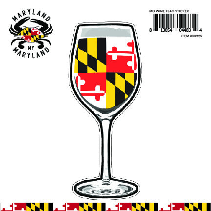 Maryland Flag Wine Glass Decal Sticker - Maryland O Mine