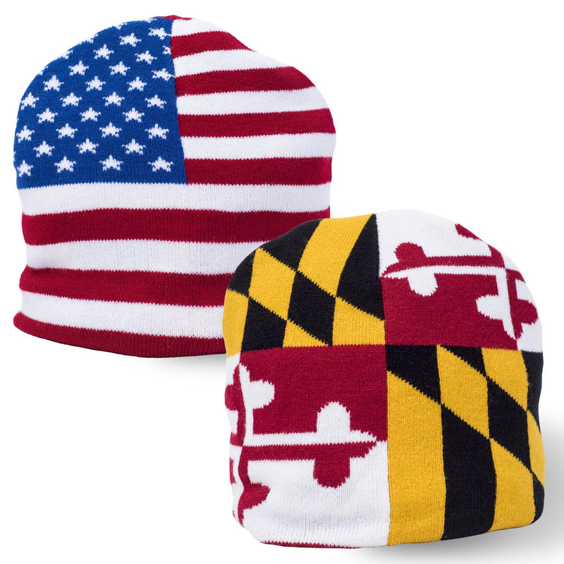 Maryland and USA Flag Beanie - Maryland O Mine
