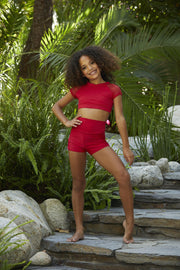 Two Piece Red Girls Dancewear Performance Outfit