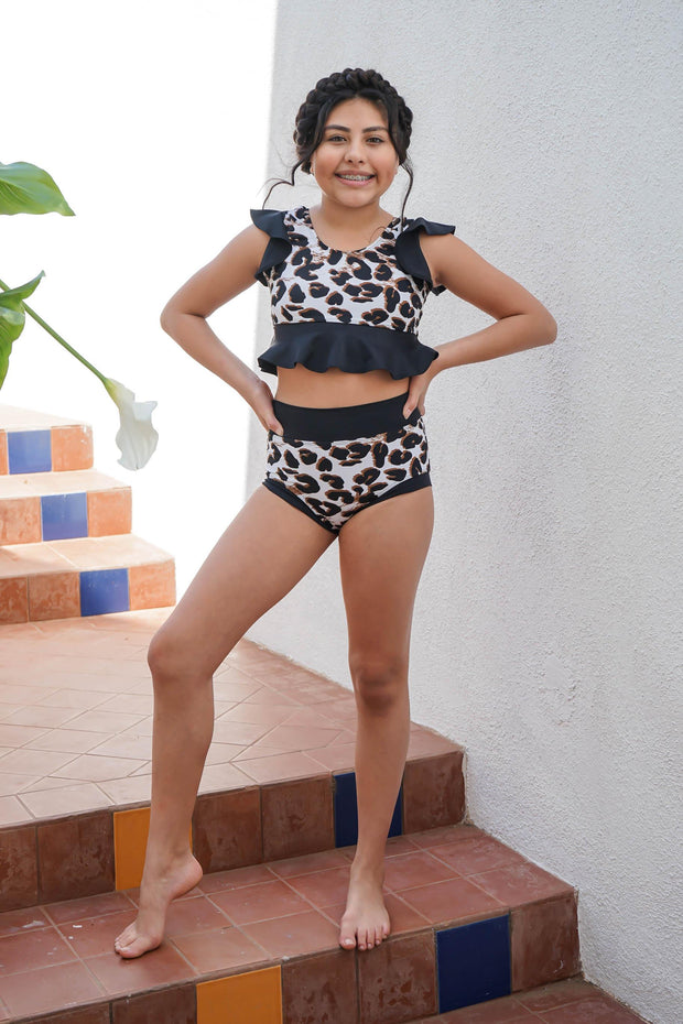Two Piece Black Leopard Print Girls Dancewear Performance Outfit