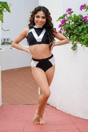 Two Piece Black Silver Metallic Girls Dancewear Performance Outfit