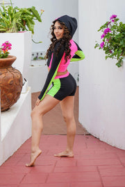 Two Piece Neon Colorblock Girls Dancewear Performance Outfit