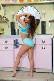 Two Piece Teal Girls Dancewear Performance Outfit