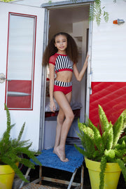 Two Piece Girls Red Stripe Dancewear Performance Outfit