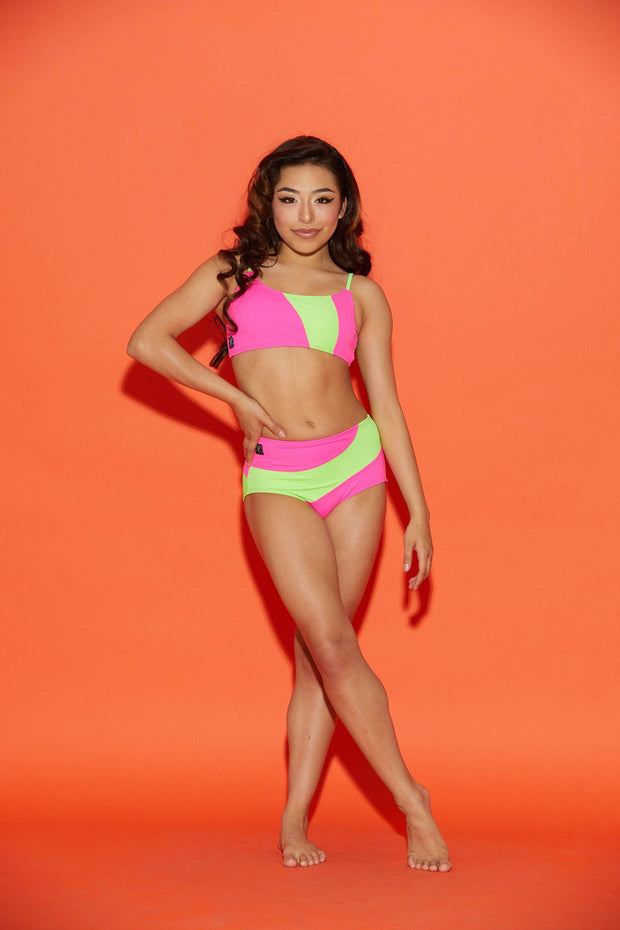 Two Piece Neon Wave Girls Dancewear Performance Outfit