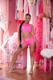 Two Piece Neon Pink Mesh Girls Dancewear Performance Outfit