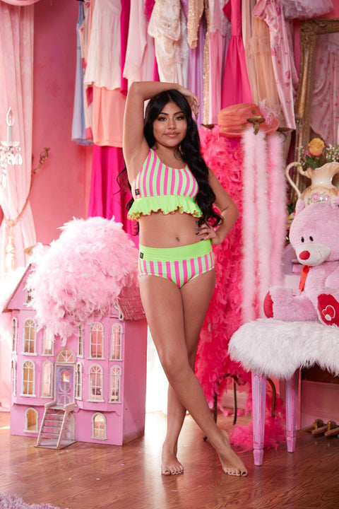 Two Piece Pink Green Stripe Girls Dancewear Performance Outfit