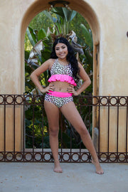 Two Piece Hot Pink Leopard Print Girls Dancewear Performance Outfit