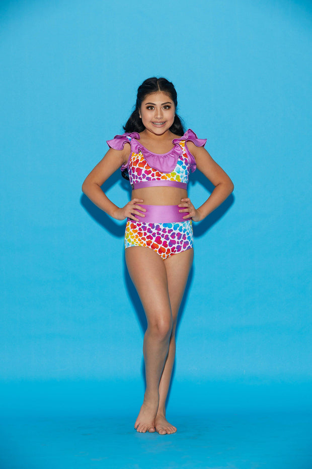 Two Piece Rainbow Heart Girls Dancewear Performance Outfit