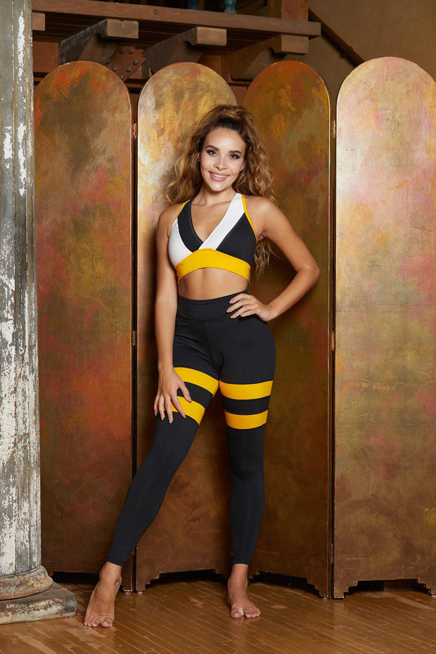 Ultra High Waist Girls Yellow Stripe Dancewear Performance Leggings