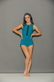 Sporty Shorty Romper Heather-Turquoise-Women