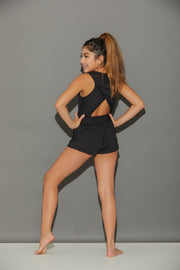 Sporty Shorty Romper Black-Women