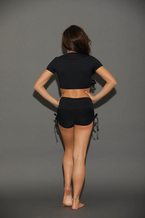 Two Piece Black Cinched Girls Dancewear Performance Outfit