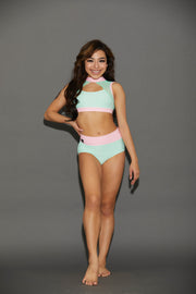 Two Piece Mint Pink Girls Dancewear Performance Outfit