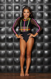 Finish Line Leotard Black Neon-Girls