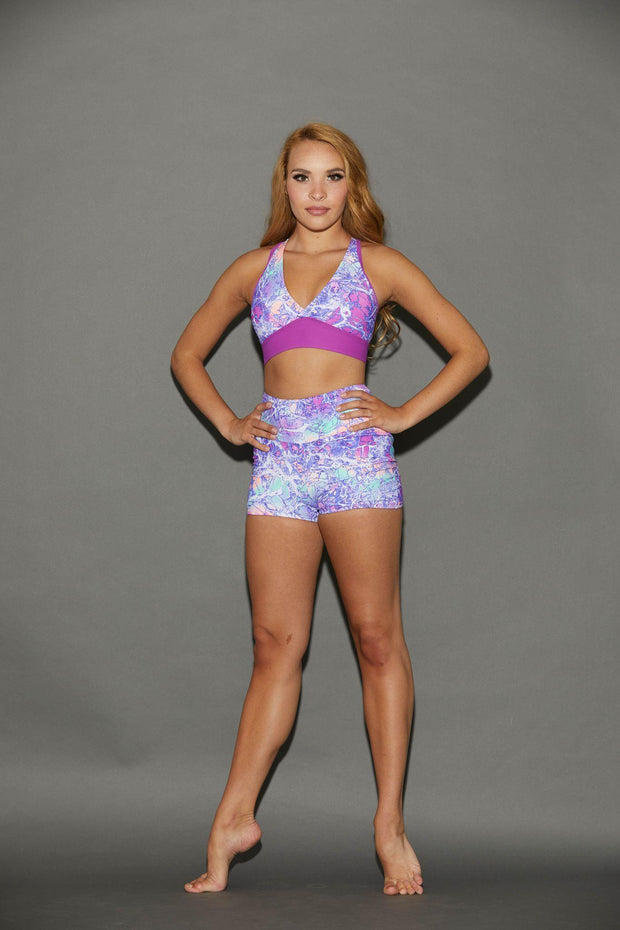 Two Piece Icebreaker Floral Girls Dancewear Performance Outfit