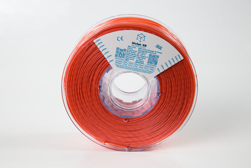 Color Change by Temp Orange Red to Natural ABS Premium 3D Filament
