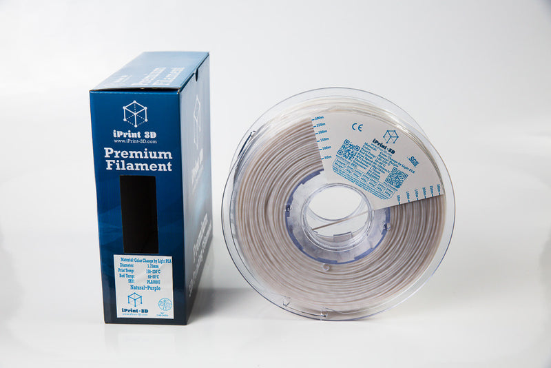 Color Change by Light Natural to Purple PLA Premium 3D Filament
