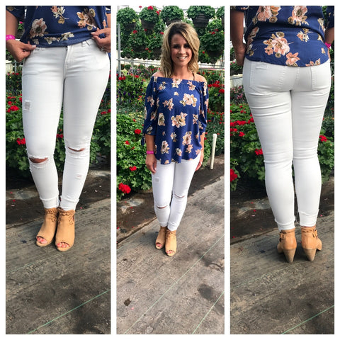 White Denim Low Rise Skinny