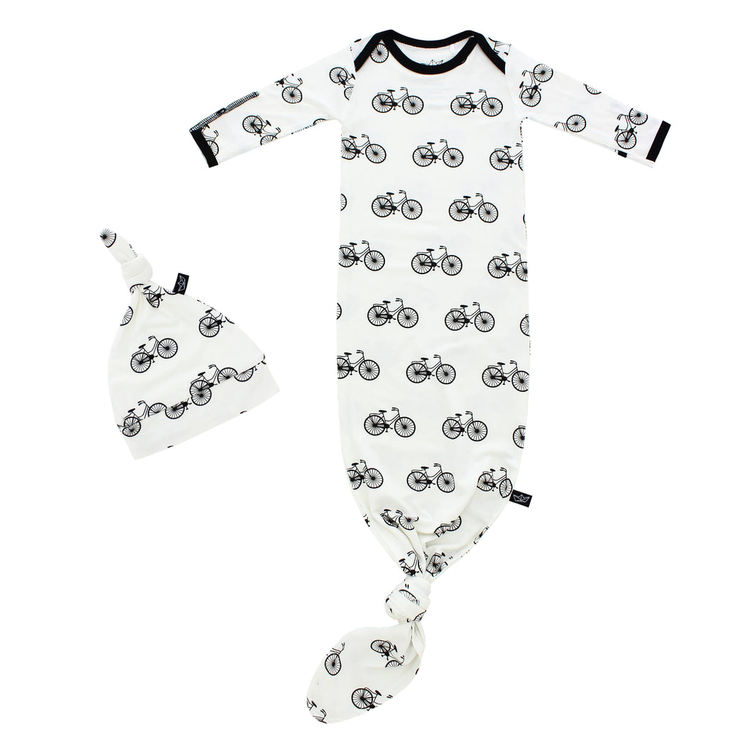 Bikes Bamboo Knotted Newborn Gown + Hat Set