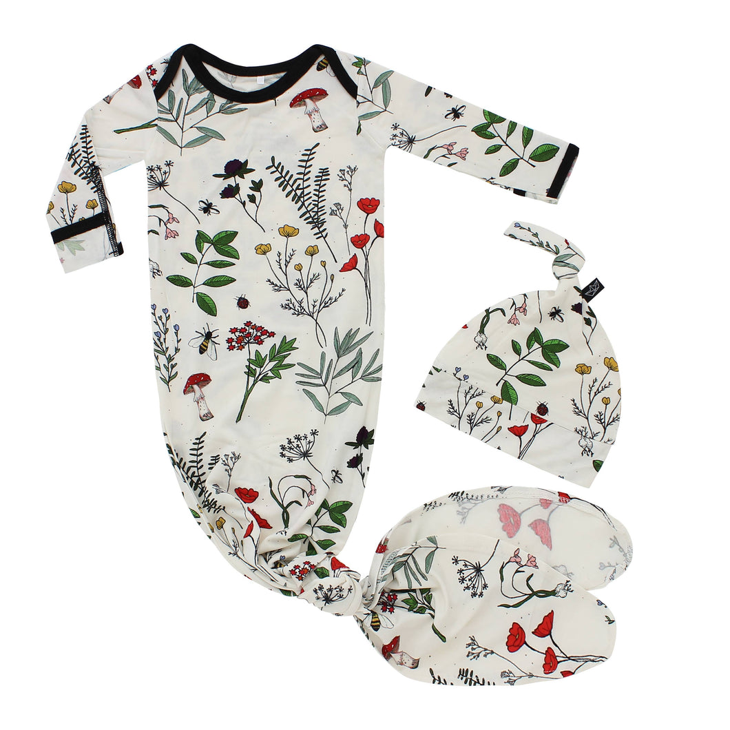 Botanical Bamboo Knotted Newborn Gown + Hat Set