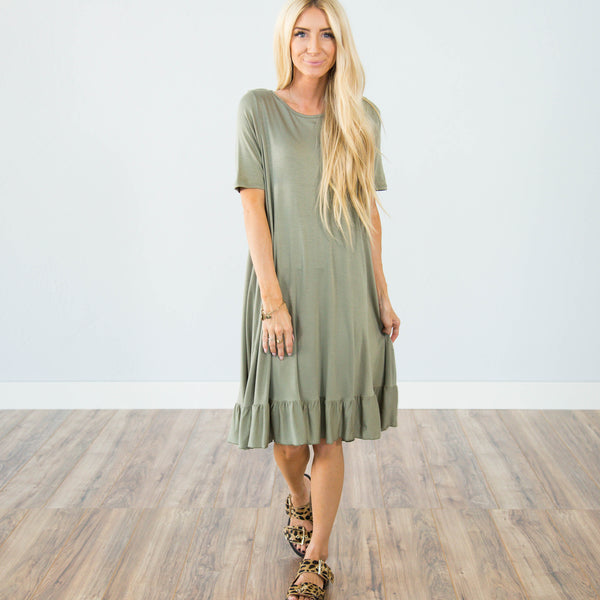 Sienna Ruffle Dress in Olive