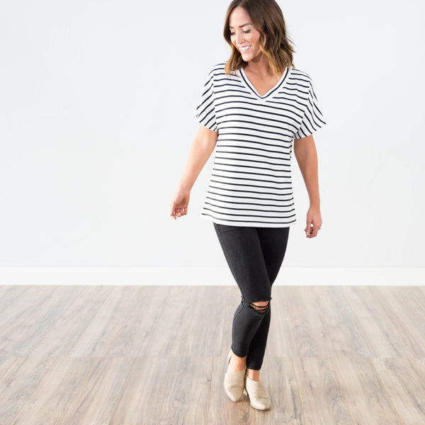 Brie Stripe V - Neck
