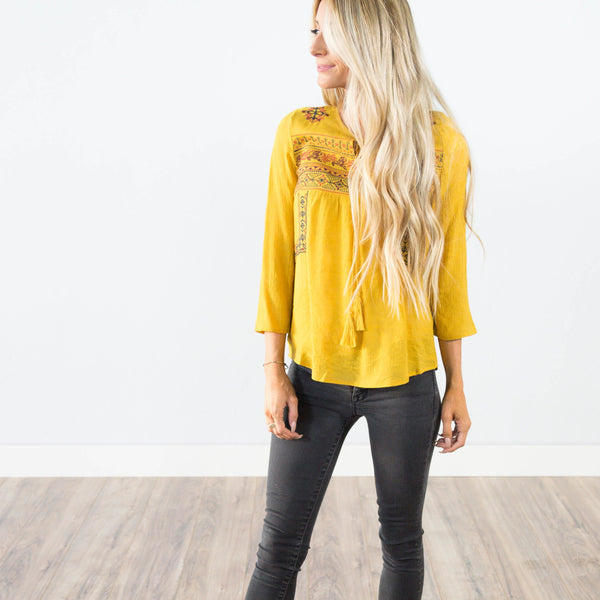 Paris Embroidered Top in Mustard