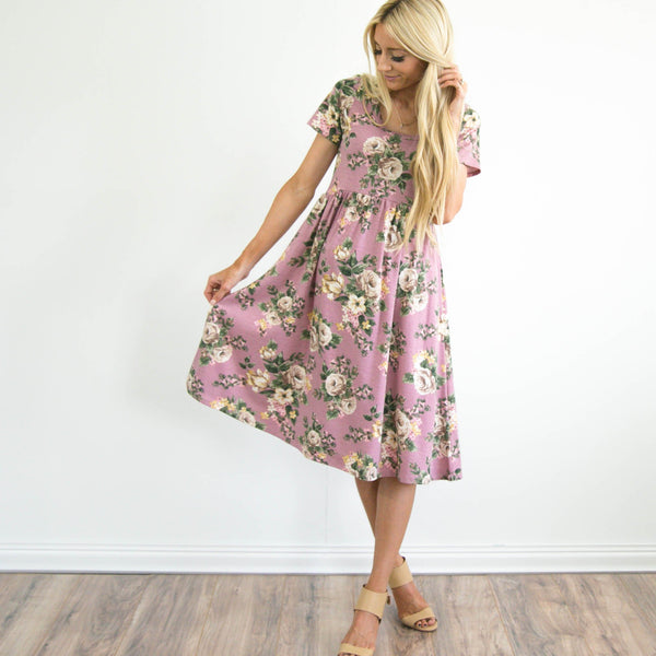 S & Co. Tillie Floral Dress in Mauve