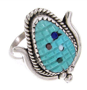 Sterling Silver Zuni Corn Turquoise Multicolor Ring Size 7-1/2 PS67447