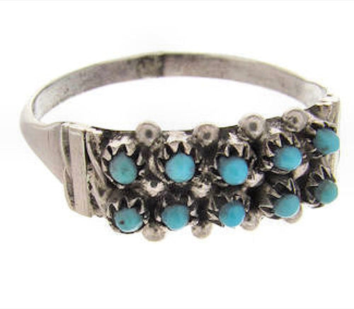 Native Indian Zuni Sterling Silver Turquoise Ring Size 7-3/4 PX24657