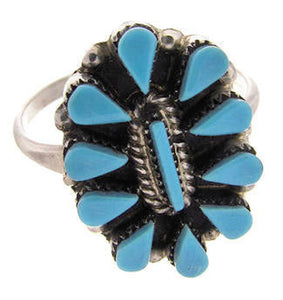 Zuni Indian Genuine Sterling Silver Turquoise Ring Size 7-1/4 BW77758